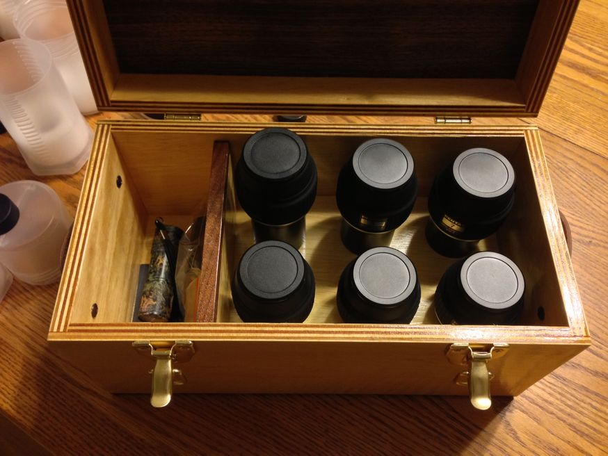 This was a custom order for a medium sized case with leather handles and a storage compartment to fit Pentax XW's.