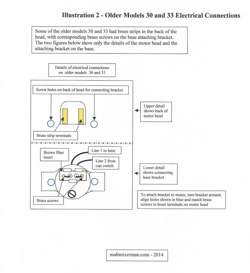 Hamilton Beach malt mixer electrical connections diagram.