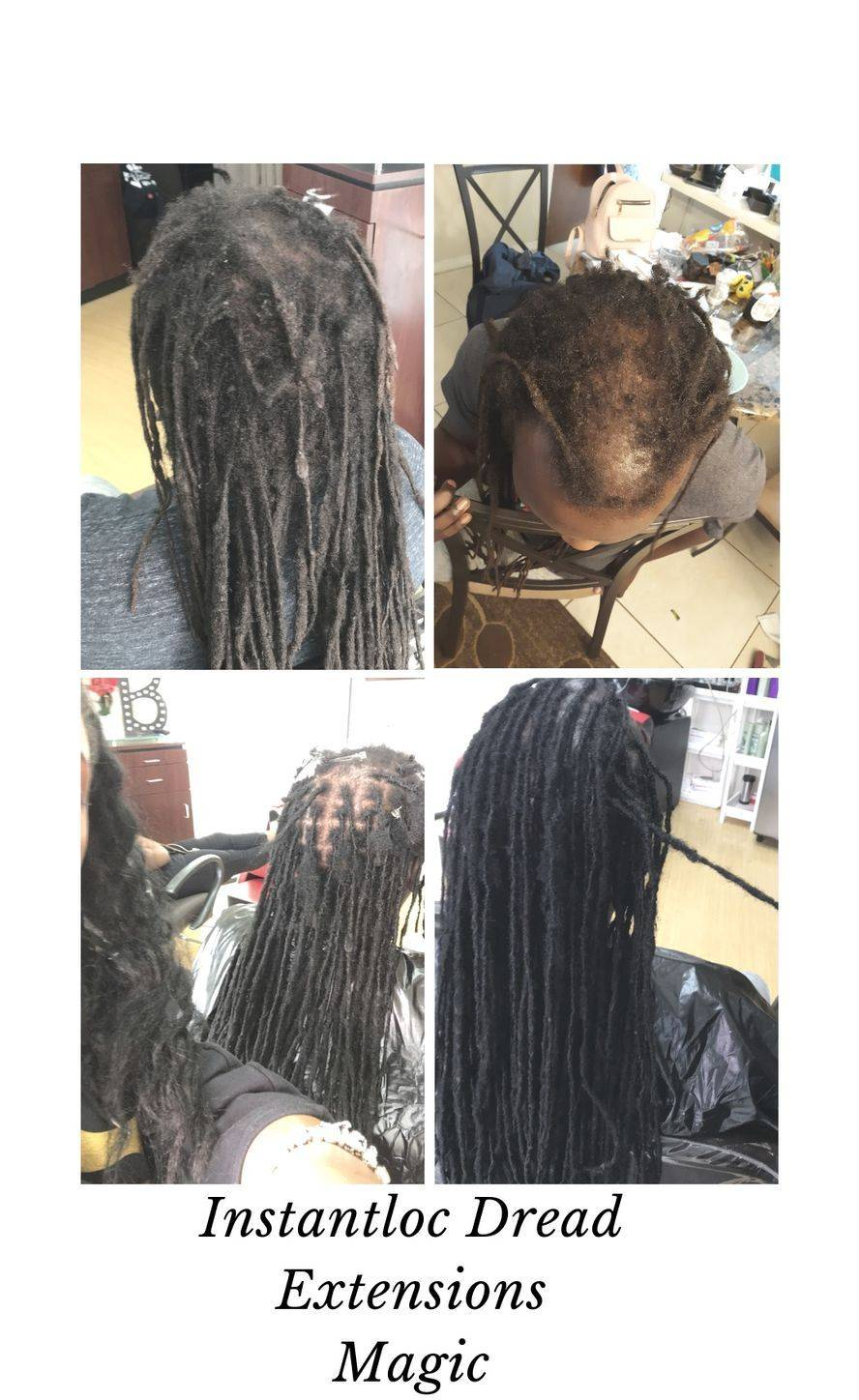Repair clients who had dreadlocks for years of miscare and breakage client had a hair transformation by Bee relocating dreadlocks to another location where it is more needed.