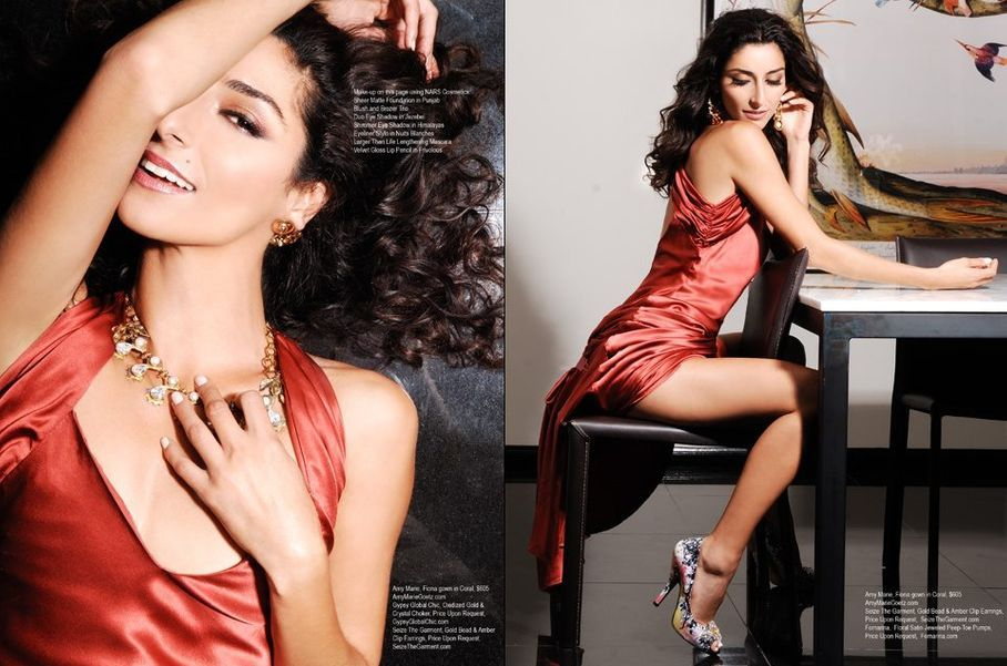 Regard Magazine editorial featuring Bravo TV Girlfriends Guide To Divorce Star Necar Zadegan wearing teh Fiona Gown designed by Amy Marie Goetz Fashion