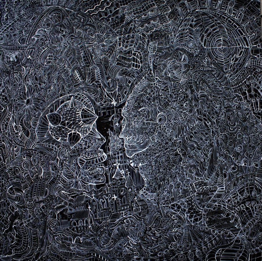 Heaven Or Las Vegas 48'' X 48'' ink/acrylic oil cradled birch 2017