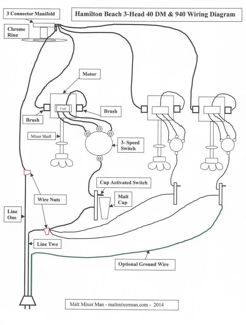 Wiring diagram 3 head Hamilton Beach malt mixer.