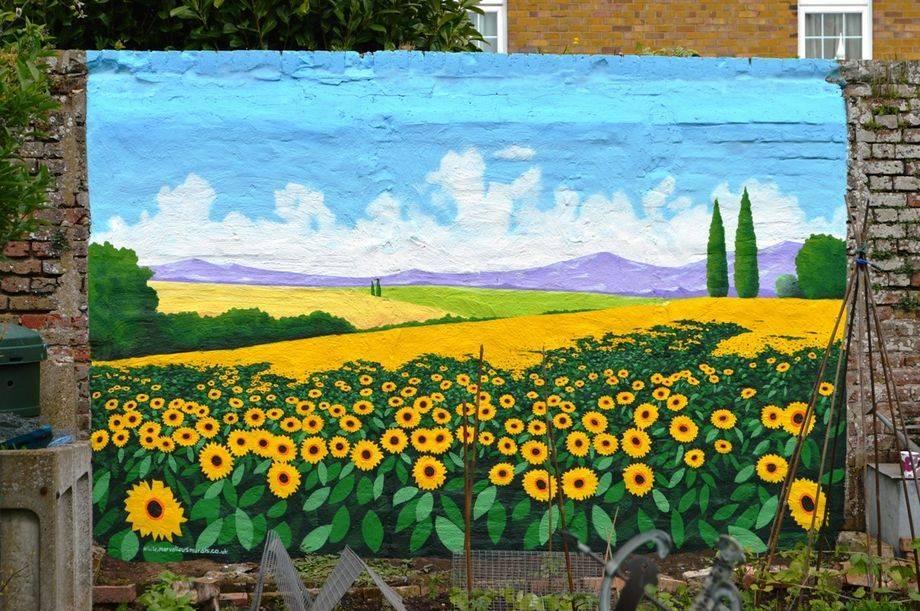 sunflower garden mural