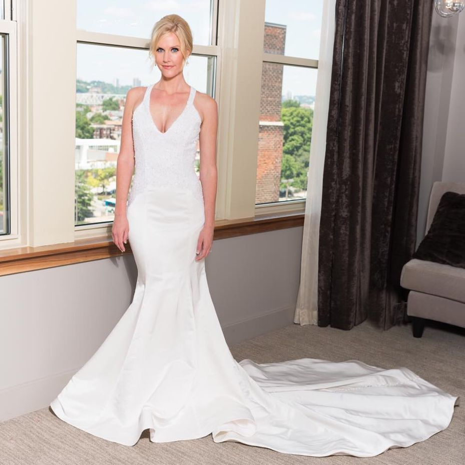 Duchess Satin Bridal gown with cathedral length train at back