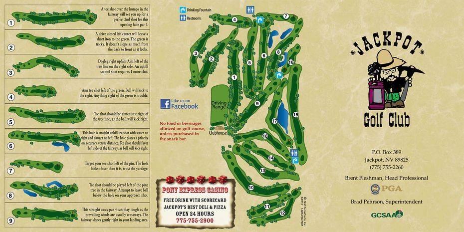 Jackpot Golf Club scorecard