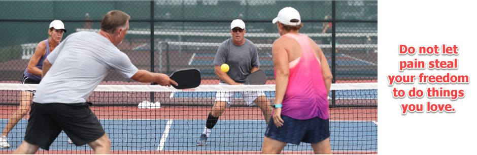 """two people playing tennis with the quote """"Do not let pain steal your freedom to do things you love."""""""