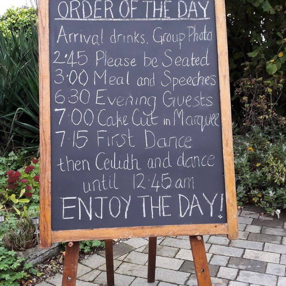 Wedding accessories York chalkboard