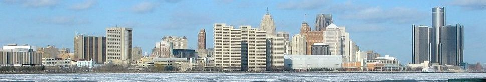 Detroit skyline and river
