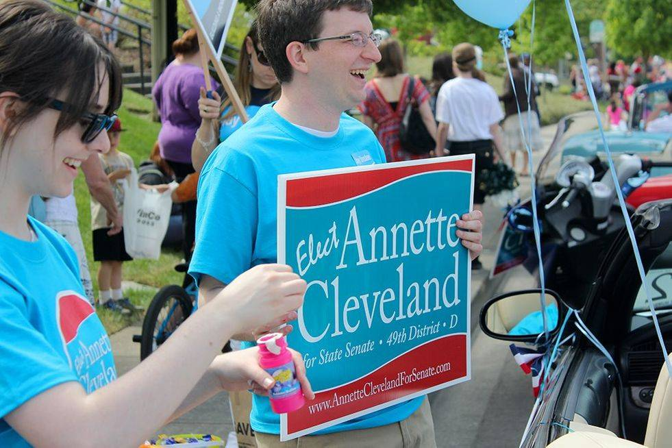 Young Dems in action supporting Annette Cleveland for State Senate in the Hazel Dell Parade